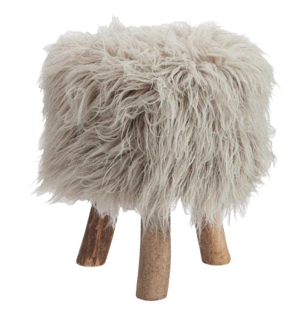 Grey Fluffy Stool
