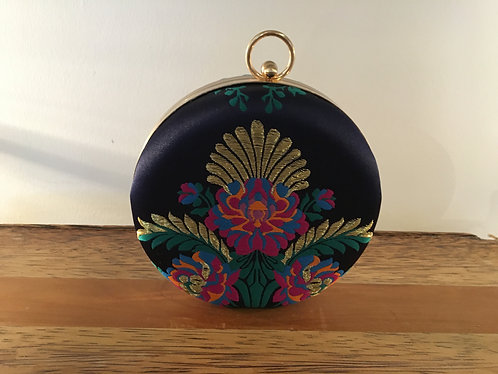 Round Blue Evening Bag Front View