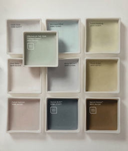 nine square dishes in colour palette of pink green brown grey blue