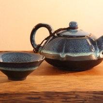 Jian Hare's Fur Porcelain Chinese Tea Pot and Cup