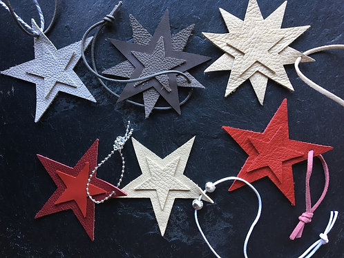 Selection of Leather Star Decorations
