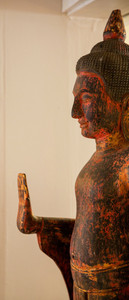 Wooden Carved Buddha Rusty Red