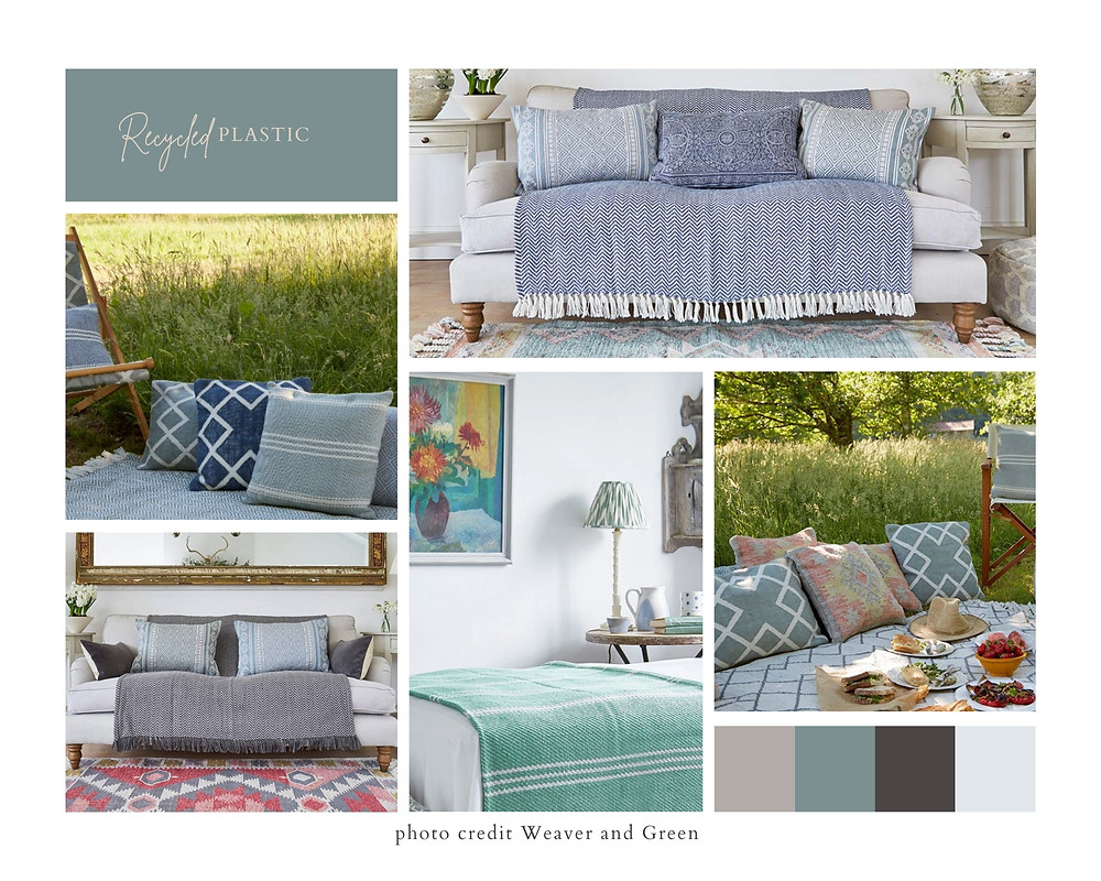 blue and green throws and cushions