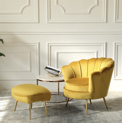 Mustard Yellow Scallop Shell Shaped Chair