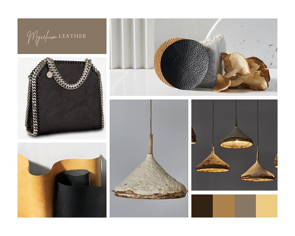 black ladies handbag and mushroom leather
