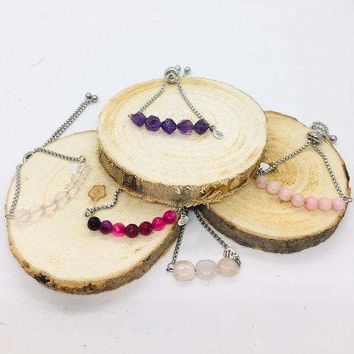 Bracelets réglables en acier inoxydable argenté: pierres violettes, rose, blanc