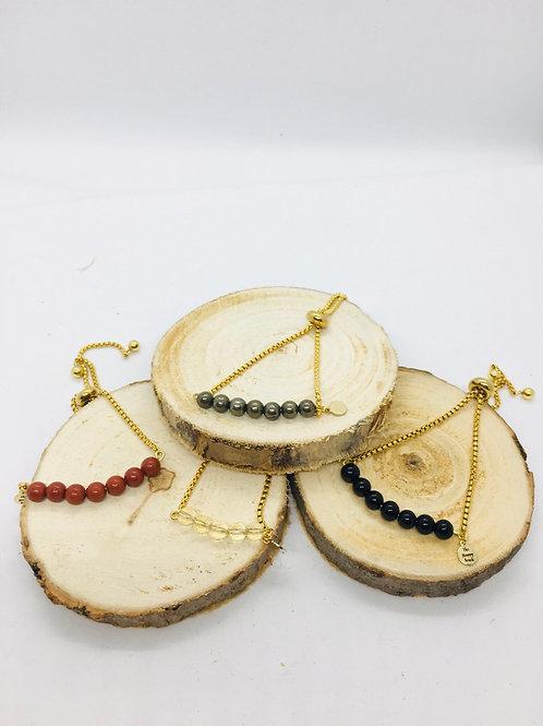 Bracelets réglables doré en acier inoxydable: pierres brunes et jaunes