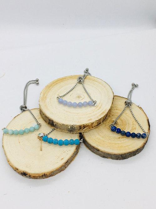 Bracelets réglables argenté en acier inoxydable et pierre semi-précieuses bleues