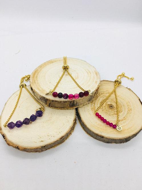 Bracelets réglables doré en acier inoxydable: pierres violettes et rose