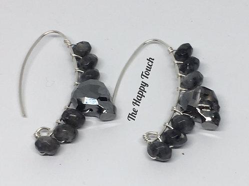 Boucles d'oreilles en métal, crâne en cristaux Swarovski et labradorites