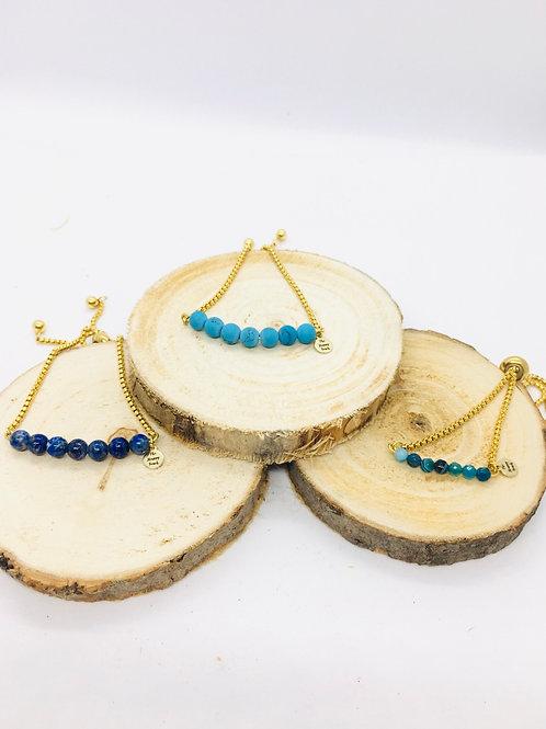 Bracelets réglables doré en acier inoxydable: pierres noires et bleues