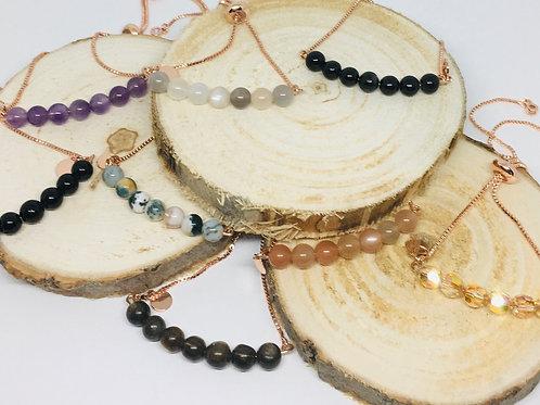 Bracelets réglables plaqué or rose, pierres semi-précieuses ou Swarovski