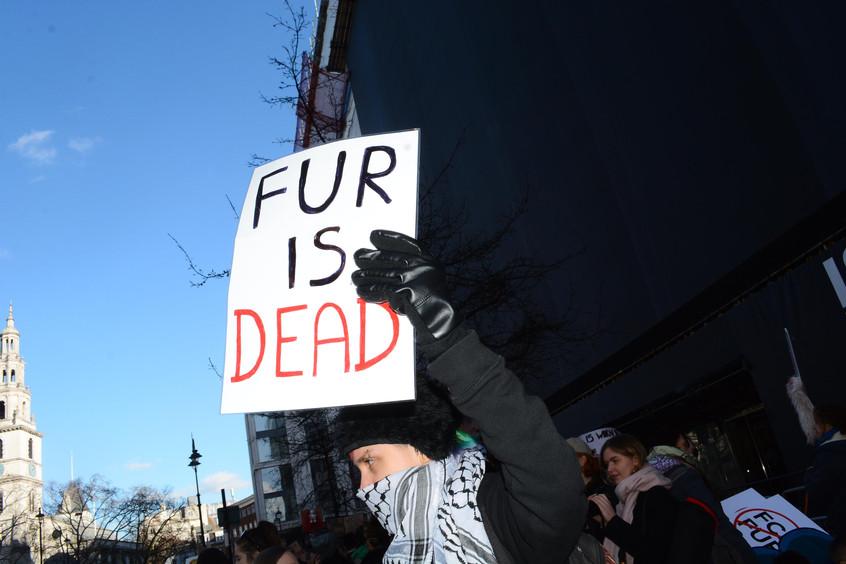 Fur protest outside London Fashion Week 2017