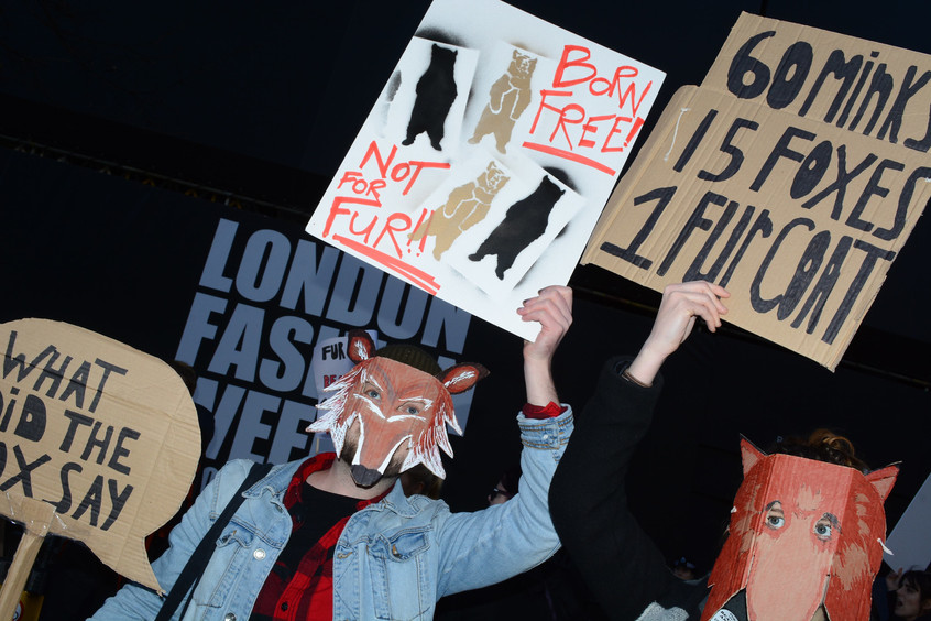 Fur protest outside London Fashion Week 2018