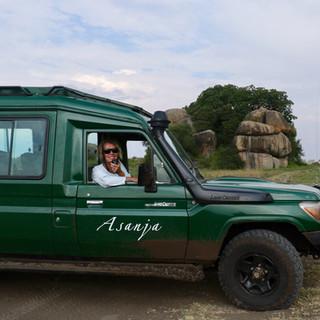u wordt rondgereden door een luxe safari auto
