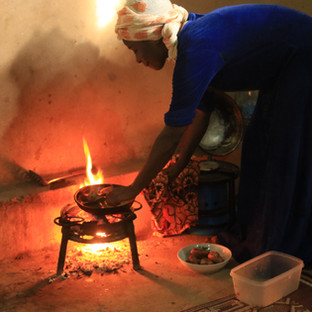 vis bakken op een klein vuurtje aangemaakt met houtskool