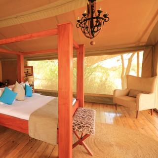 een zeer luxe tent met prachtig uitzicht over de Serengeti