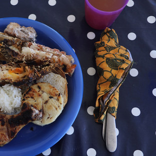 BBQ lunch with a lot of fresh seafood