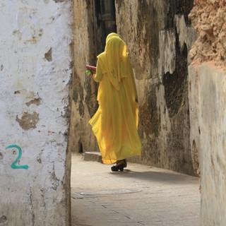 lokale vrouw wandelend in Stone Town