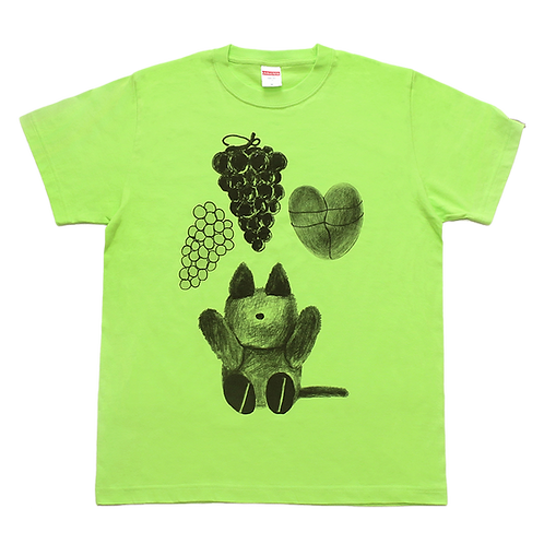 LEE SUKYUNG - A CAT DOLL AND GRAPE, HEART TEE / LIME