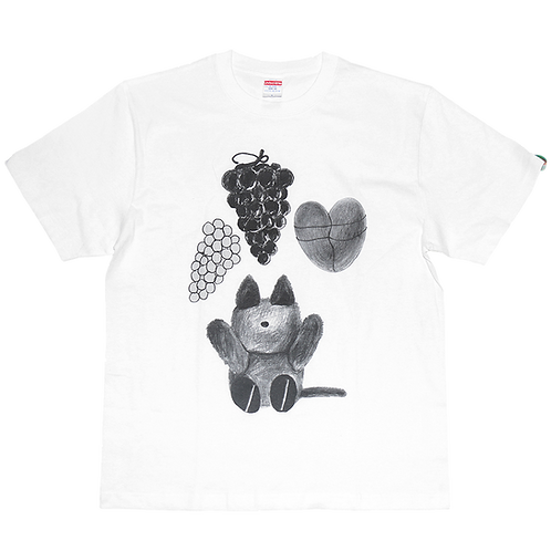 LEE SUKYUNG - A CAT DOLL AND GRAPE, HEART TEE / WHITE