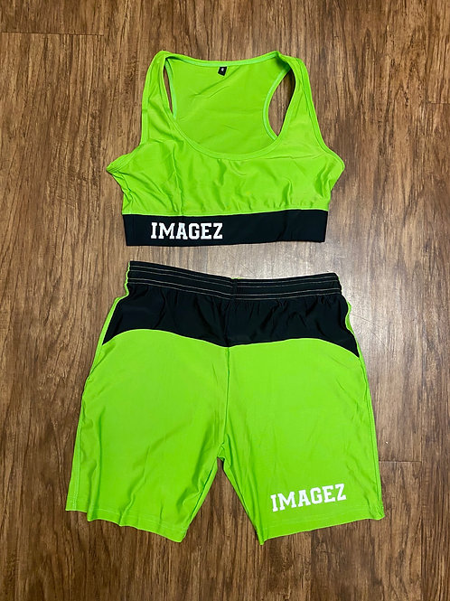 Female crop top and jogger shorts