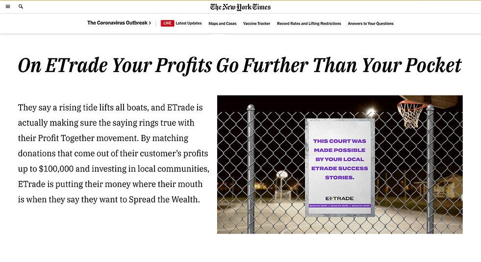 E-Trade PR Headline