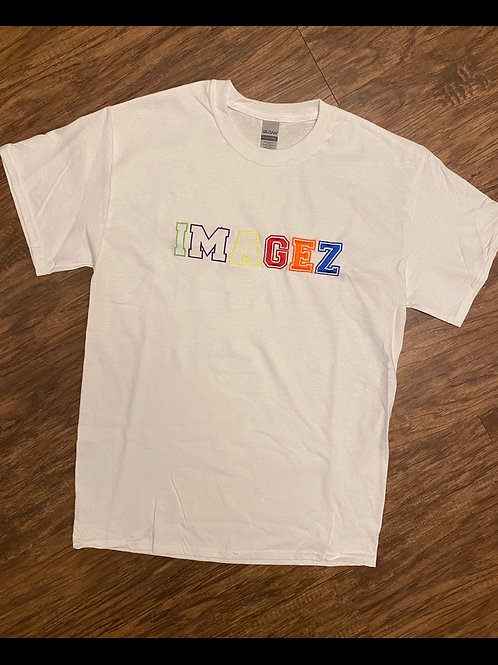 White stitched Imagez T shirt