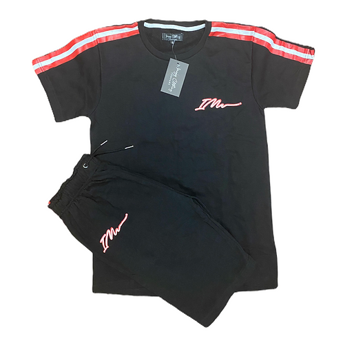 Black/Red Signature shorts and tee set