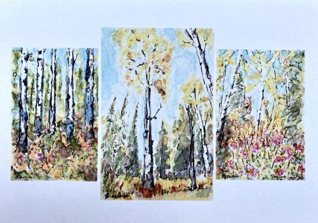 A Tiny Trio of Autumn Aspen: Item # - A24