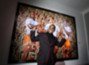 "Artist Kehinde Wiley stands in front of his ""Unity"" portrait, commissioned for the 2010 World Cup (P"