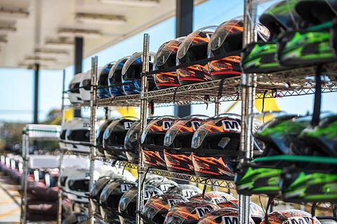 Go-kart helmets at Xtreme Racing Center Branson Missouri