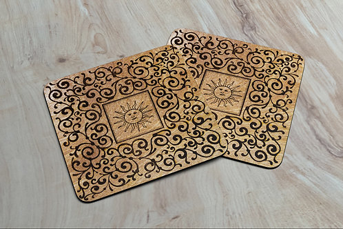 Mystic Sun with Artisan Etched Scrollwork Coasters