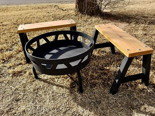 Fire Pit and Benches Set
