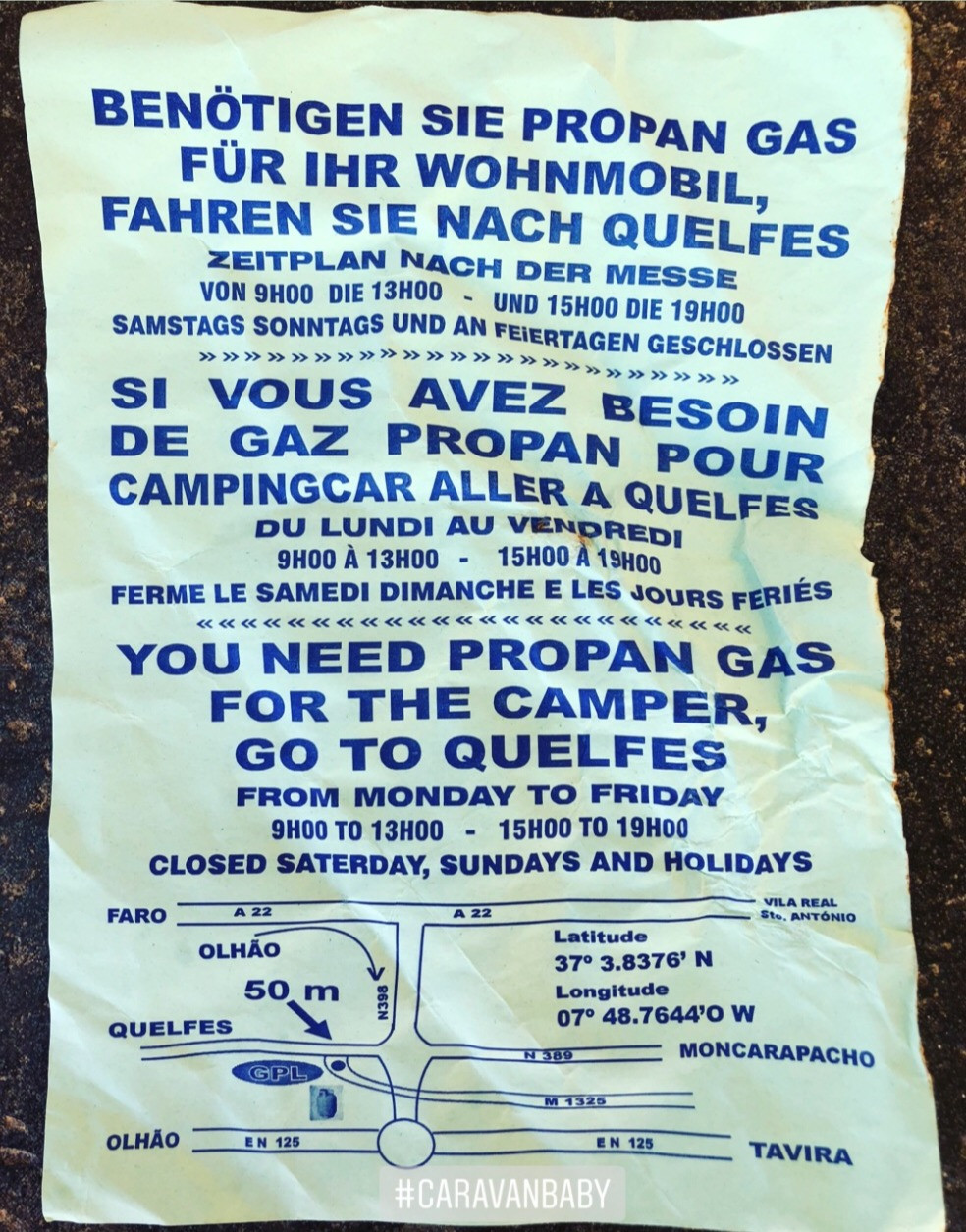 Flier describing where to refill propane gas (LPG) in Portugal, refilling any european propane canister.