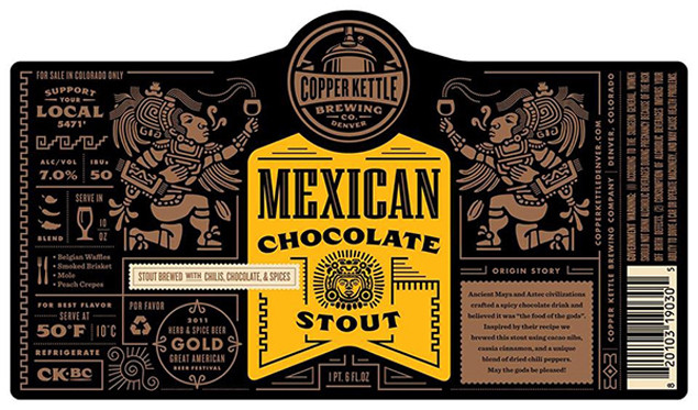 Mexican chocolate stout packaging by Copper Kettle Brewing.