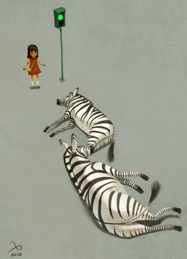 Zebra stripes by XS hang via Behance: http://bit.ly/14d8Nj5