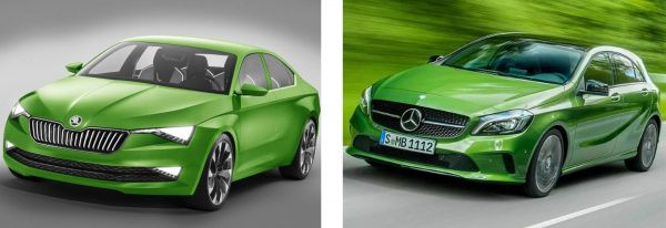 Skoda (left) and Mercedes (right) both offer 2016 models in Greenery.