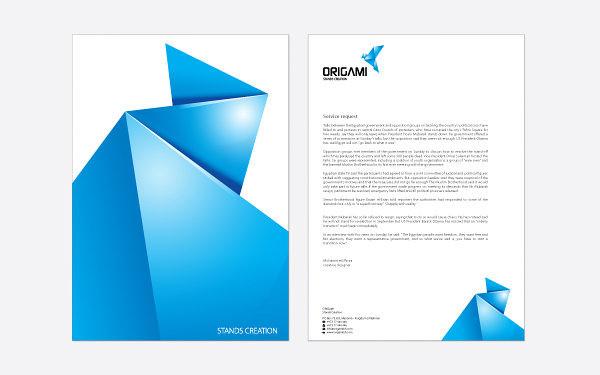 Letterhead examples: Mirza origami