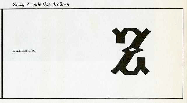 """zandy """"Z"""" ends with drollery"""