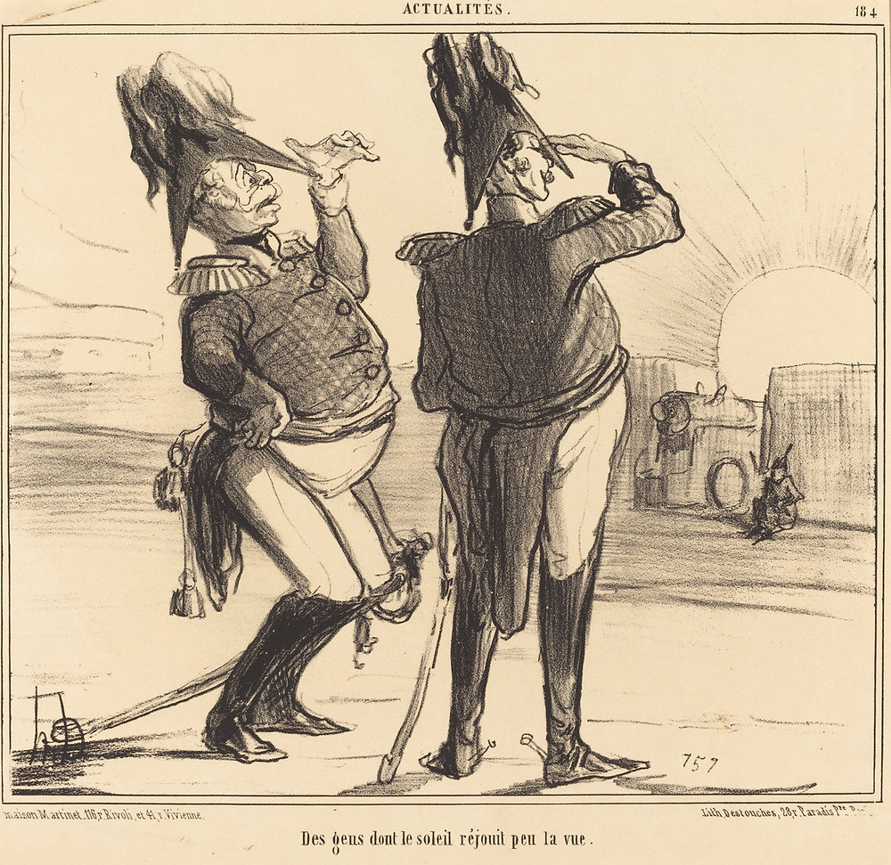 Honoré Daumier (French, 1808 - 1879 ), Des gens dont le soleil réjouit peu la vue, 1855, lithograph, Rosenwald Collection 1958.8.64 From the National Gallery of Art