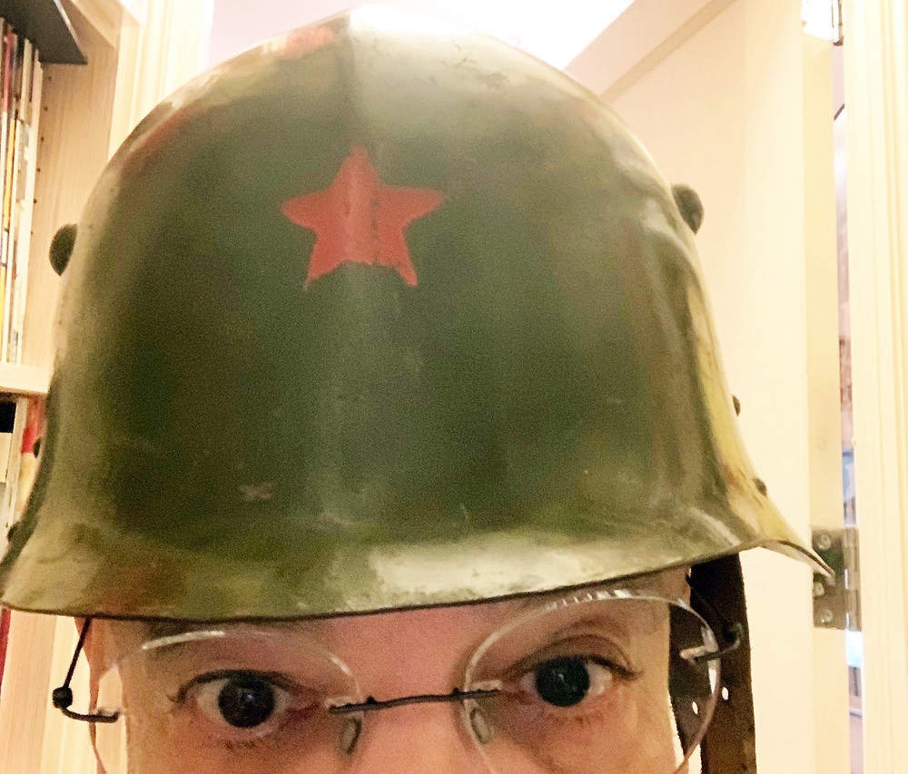 Steven Heller with helmet