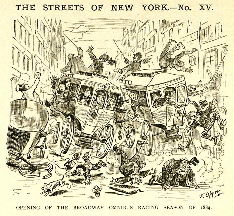 Frederick Burr Opper: The Streets of New York, 1884. Flagler Museum Archives