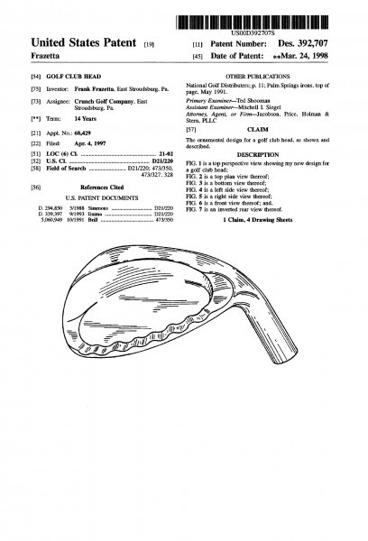 Patent art for golf club heads.