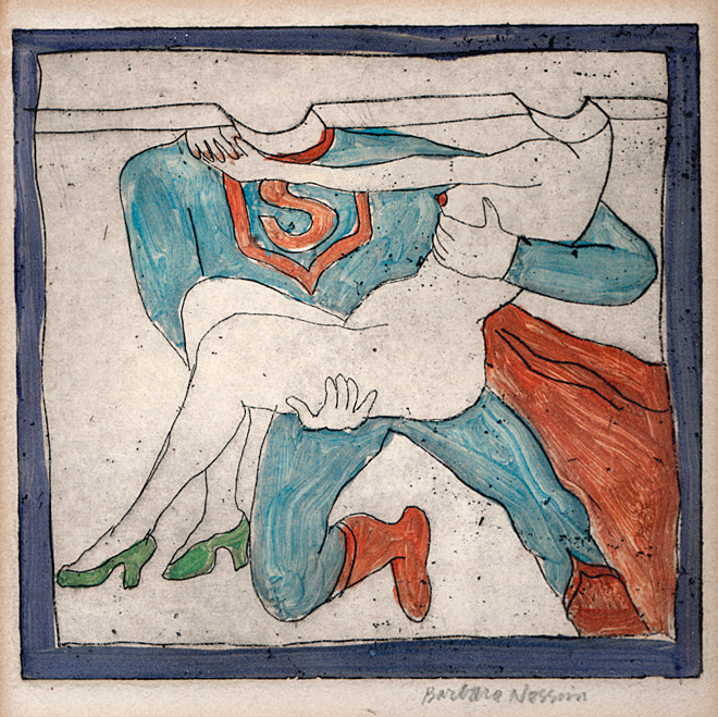 """""""Superman Carrying Girl with Green Shoes,"""" from the series """"Coney Island in the Winter,"""" 1963. Monotype etching; hand-colored with oil. In collection of the Victoria and Albert Museum"""