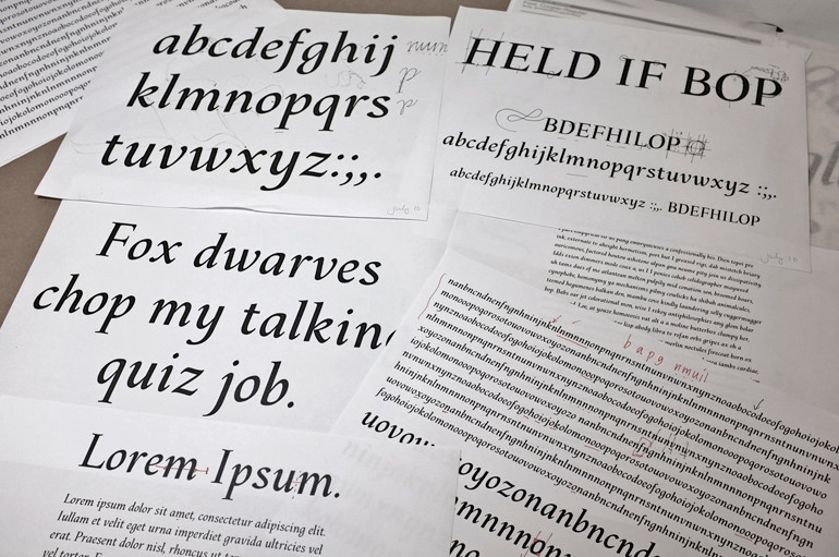 Digital output of sample character sets, headlines, and text set in Chavelli Tsui's italic