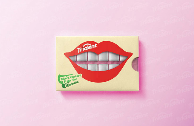 Props to Hani Douaji for his clever packaging solution for Trident X-tra Care gum. While it might be easy to make the leap that the rows of hard-shelled gum look like teeth, the execution of the illustrations and logo placement here are expert.