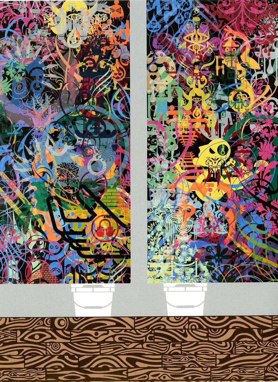 Script Kitties, 20216, acrylic on wood panel, 69.5 x 51.125 in.