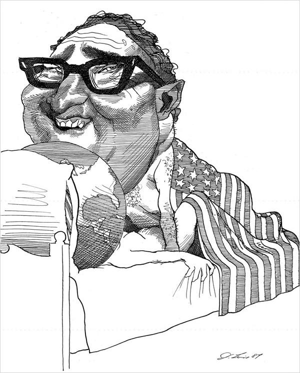 David Levine: Henry Kissinger, 1984