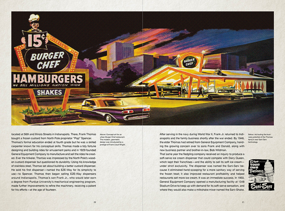 Spread from issue 10 showing Mike Knight's history of the Burger Chef logo.